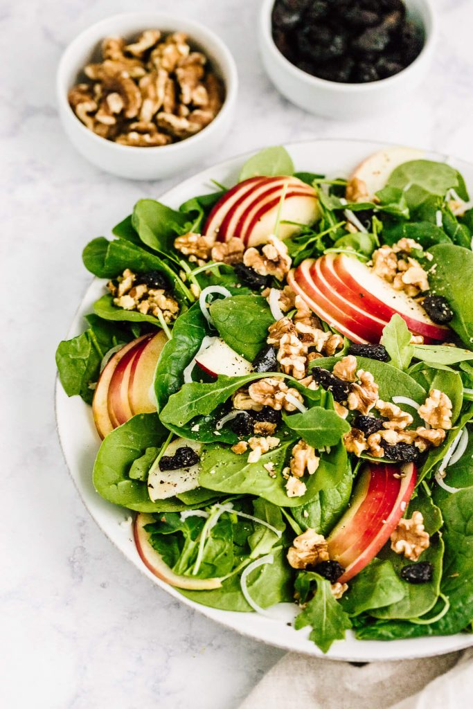 Apple walnut spinach salad