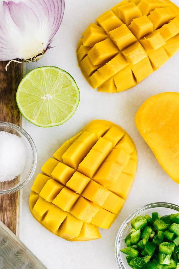 Fresh mangos cut up